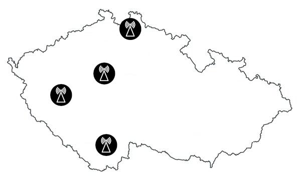 Lokace vysílačů Radia 1